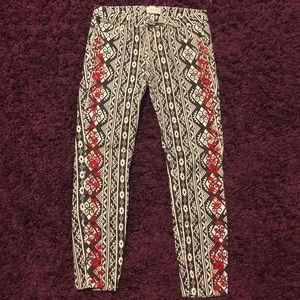 Denim - Aztec printed skinny jeans with red embroidery